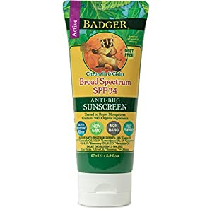 Badger – SPF 34 Anti-Bug Sunscreen Cream – DEET-Free Sunscreen Bug Repellent – Broad Spectrum Water Resistant Reef Safe Sunscreen, Natural Mineral Sunscreen with Organic Ingredients 2.9 fl oz