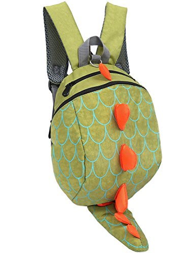 ZHUANNIAN Kids Toddlers Dinosaur Backpack with Safety Leash for Boys Girls(Green) -