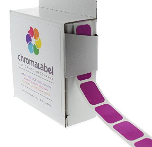 "1/2"" x 3/4"" Fluorescent Purple Square Color-Coding Stickers | Permanent Adhesive, Writable Surface — 500 Labels per Dispenser Box"
