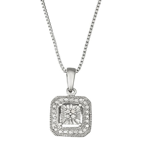 Diamond Square Necklace - Sterling Silver white diamond Square Shape Solitaire Look necklace