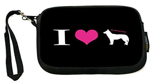 UKBK I Love My Siberian Husky Dog Neoprene Clutch Wristlet with Safety Closure - Ideal case for Camera, Universal Cell Phone Case (Round Dog Clutch)