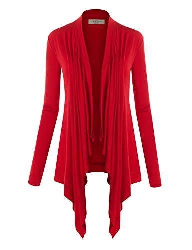WSK849 Womens Off-Duty Open Front Cardigan S Red