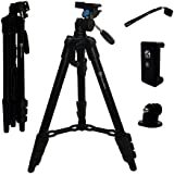 Lightweight Compact Tripod 48 Inch w Bluetooth Remote, Phone Mount, GoPro Mount, Carrying Bag | Digital Camera, iPhone, Android, GoPro, DSLR iPhone X, 8, 7, 6 Plus, Samsung Galaxy, Video, Canon, Nikon