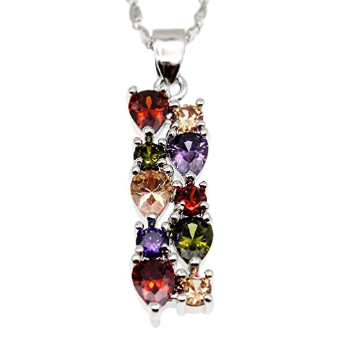 - Vanessa Multi Gemstone Jewelry Sets for Women, Sparkling Garnet Amethyst Morganite Peridot Topaz Gifts for Her (Pendant)
