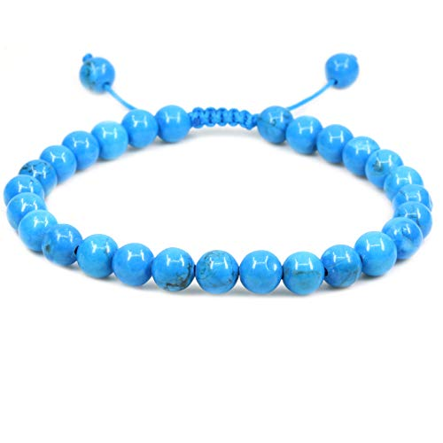 Amandastone Natural Turquoise Howlite Gemstone 6mm Round Beads Adjustable Bracelet 7