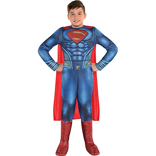 Costumes USA Justice League Part 1 Superman Muscle Costume for Boys, Size 3-4T, Includes a Padded Jumpsuit and a Cape