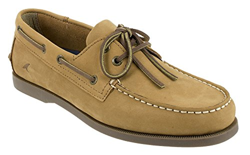 Rugged Shark Men's Classic Boat Shoes - Odor Control Technology,Desert Tan,12 D(M) US