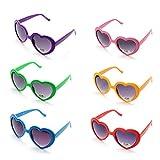 6 Neon Colors Heart Shape Party Favors Sunglasses, Multi Packs (6-Pack)