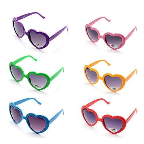 (6 Neon Colors Heart Shape Party Favors Sunglasses, Multi Packs)