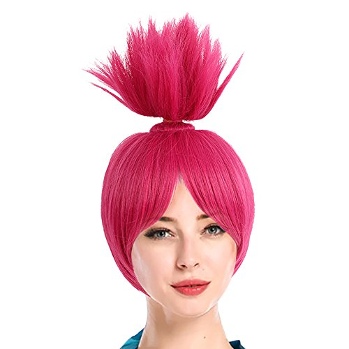 Adult Women Fuchsia Cosplay Bun Branch Wig with Free Hair Cap