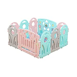 Playpen Kids Plastic Baby Playpen with Colorful Panels, Square Foldable Portable Room Divider Child Kids Barrier Baby Playards (Size : 118x118x60cm)