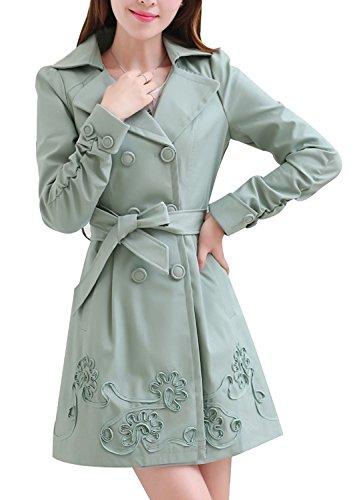 De Printemps Double Breasted Trench Femmes Floral Vert Veste Slim Fit Coat Beginning Auspicious Ceinturé SY0qwTx