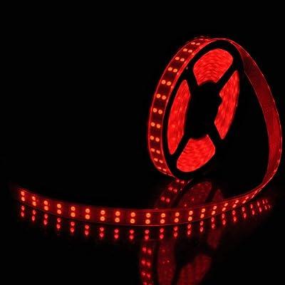 Led World 16.4ft Double Row 5050 RGB LED Strip 5M 600 Leds SMD Light Tube Waterproof 12V