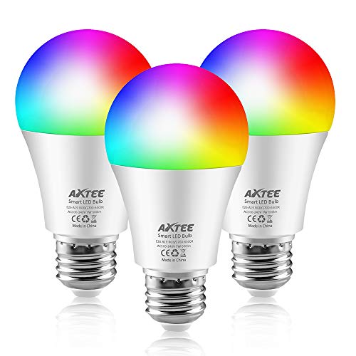 AXTEE Smart WiFi Light Bulb, Smart LED RGB Color Changing Bulb with Remote Control, No Hub Required, E26 Multicolor Dimmable Night Lamp, Compatible with Amazon Alexa and Google Home Assist 7W, 3 PACK