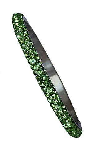 Bangle with Crystals: 3 rows of Peridot Color (3 Rhinestone Bangles)