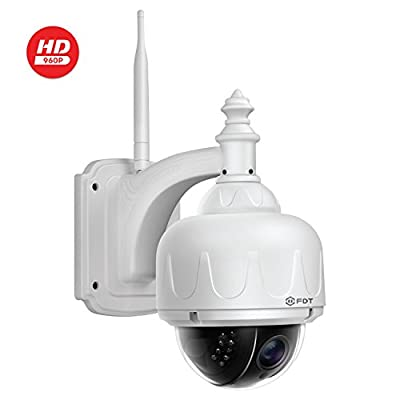 FDT Outdoor PTZ (4X Optical Zoom) HD 960p WiFi IP Camera (1.3 Megapixel), IP65 Weatherproof, Wireless Security Camera FD7903 (White), Pan/Tilt/Zoom, Night Vision - 65ft (20meters) from FDT