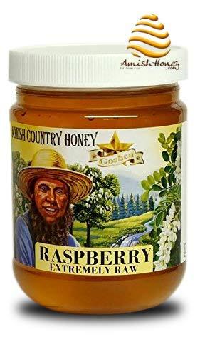 Goshen Honey Amish Extremely Raw RASPBERRY Blossom Honey 100% Natural Honey Health Benefits Unfiltered OU Kosher Certified | 1 Lb
