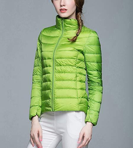Manteau Veste Zhuikuna Veste Col Col Manches À V Femme Longues droit Vert Légère Doudoune q7RrxwPq6