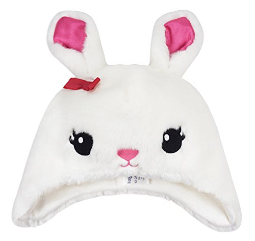 Keepersheep Todder Baby Kids Girls' Winter Hat Earflap Faux Fur Hat, Rabbit Hat (2-3T,White-Rabbit)
