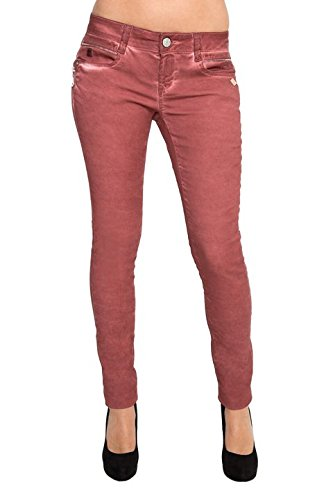 Lost in Paradise Megane super slim Bordeaux Satin Jeans Damen Denim