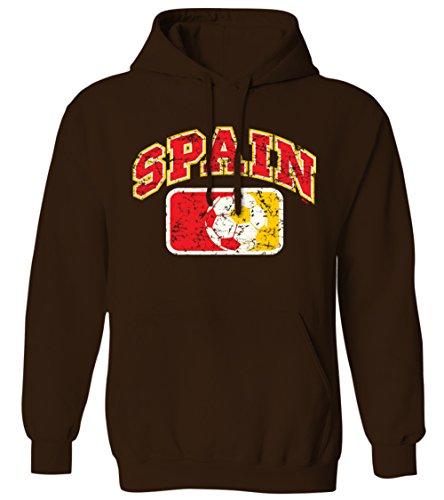 Distressed Spanish Soccer League Ball -Spain Mens Hoodie Sweatshirt (BROWN, -