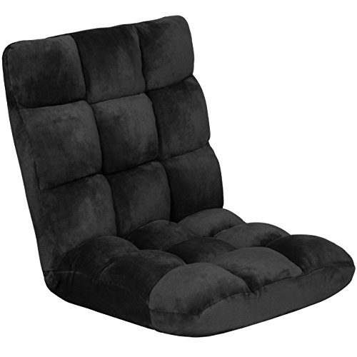 Best Choice Products 14-Position Folding Adjustable Memory Foam Cushioned Padded Gaming Floor Sofa Chair for Living Room, Bedroom - Black