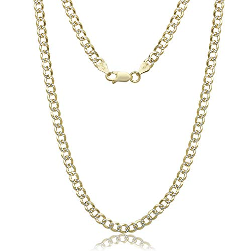 NYC Sterling Unisex Silver 4.3mm Two Tone Curb Chain Necklace 16