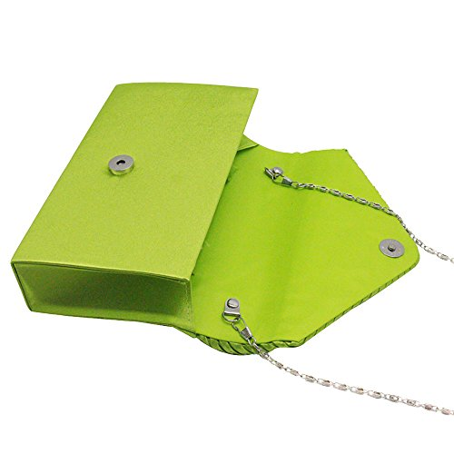 Apple Classic Envelope Satin Evening Green Clutch Handbag Women Silver Cckuu Pleated Rhinestone Bag qSwPx6