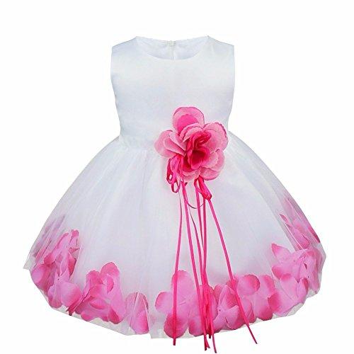 (iEFiEL Girls Kids Wedding Party Darling Petals Bowknot Flower Dress Rose Pink 12-18 Months)