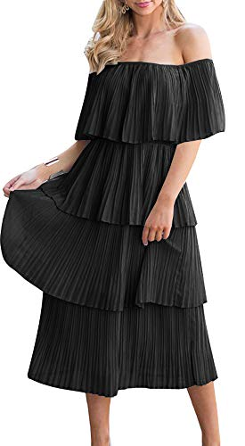 ETCYY Women's Off The Shoulder Summer Chiffon Tiered Ruffle Pleated Casual Midi Dress Black (Womens Black And Pink Dresses)