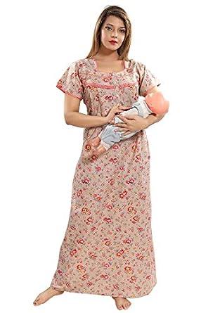 Soulemo Women's Pure Cotton Feeding Nighty/Maternity Dress for Post & Pre Pregnancy Wear.