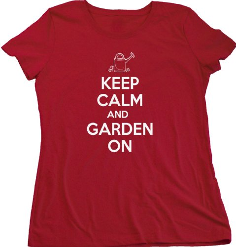 Ann Arbor T-shirt Co. Women's KEEP CALM AND GARDEN ON T-shirt