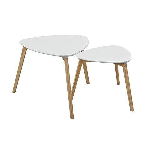 Amazon.com: HOMY CASA - Juego de 2 mesas de café, estilo ...
