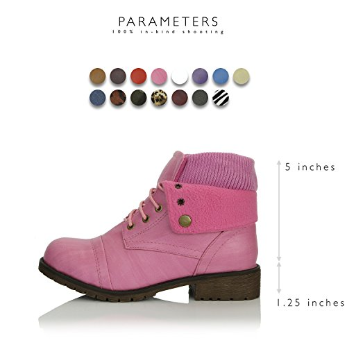 Credit DailyShoes Pocket Knife with Women's Boots Wallet Card Bootie Money Combat Style Ankle Pocket PU for Sweater Pink up Top PPqrFwz