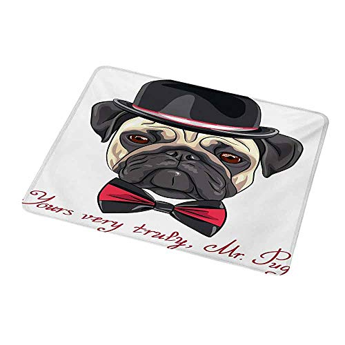 (Personalized Custom Gaming Mouse Pad Pug,Sketch Style Hipster Dog Frowning Sad Face Pure Bred Top Hat and a Bow Tie Mr Pug,Black Red Cream,Personalized Design Non-Slip Rubber Mouse pad 9.8
