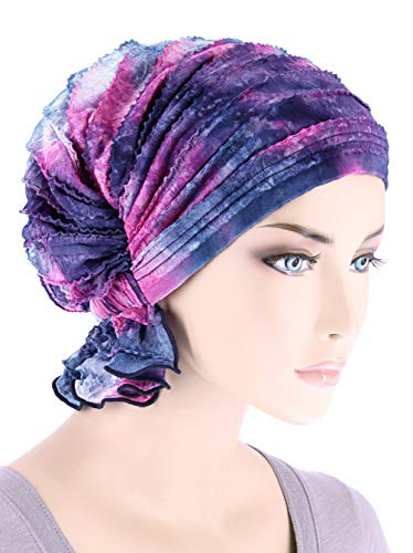 (Abbey Cap Womens Chemo Hat Beanie Scarf Turban Headwear for Cancer Ruffle Tie-Dye Purple Pink)