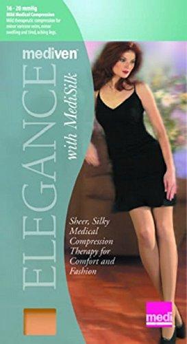 - Mediven Elegance 16-20mmHg Open Toe Knee High Women's Stockings (X-Large, Black)