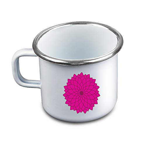 Many Petals Flower Hot Pink Metal Camping Mug Enamel Cup (Pink Enamel Petal)