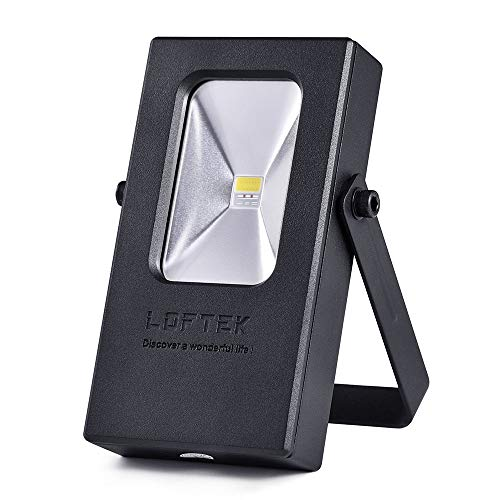 LOFTEK 15W 6000K Work Lights Outdoor Camping Fishing Lights, Built-in Rechargeable 6600mAh Lithium Batteries with USB Ports to Charge Mobile Devices and Special SOS Mode, Black