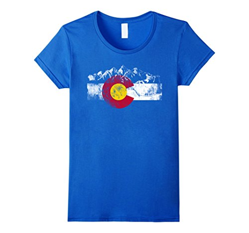 Womens Colorado Flag Moutain Vintage T Shirt   Colorado Day Shirts Small Royal Blue