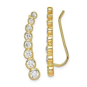 Sterling Silver Gold-tone Cubic Zirconia Ear Climber Earrings