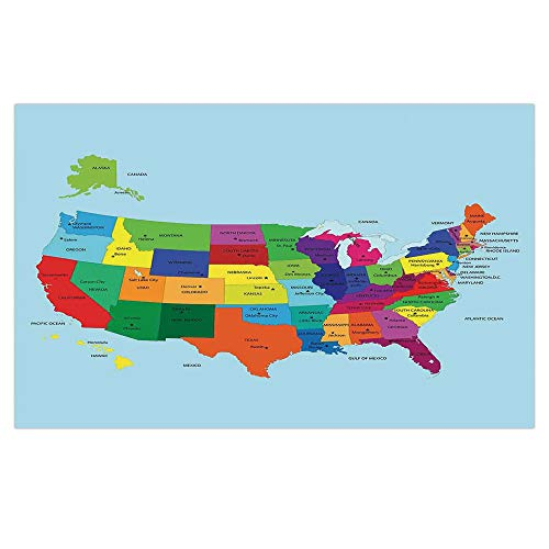 3D Floor/Wall Sticker Removable,Kids,Educational Map of America USA with States and Capitals City California Texas New York Printed Art Decorative,for Living Room Bathroom Decoration,35.4x23.6