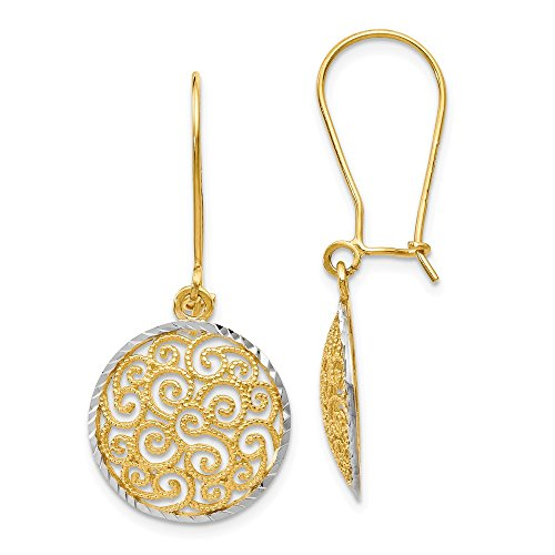 14k Two Tone Yellow Gold Filigree Drop Dangle Chandelier Earrings Fine Jewelry Gifts For Women For Her