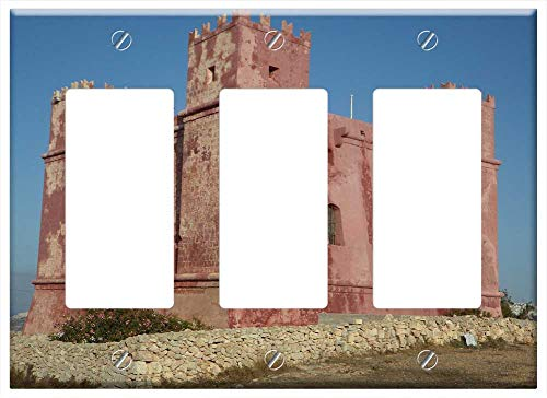 (Switch Plate Triple Rocker/GFCI - Defense Masonry Castle Red Tower Malta Fortress)