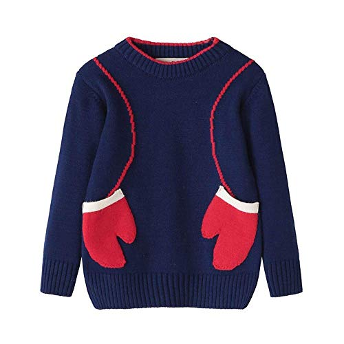 Toddler Boy Girl Knitted Sweater Fall Winter Clothes Kid Glove Print Navy -