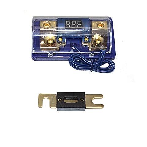Asdomo Car Stereo Audio Led Display Digital Voltage Blue Base Inline ANL Fuse Holder 0 2 4 Gauge 200 Amp (Car Audio Digital Fuse)