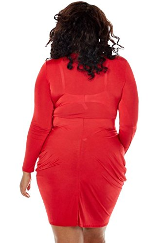 POSESHE Womens Plus Size Deep V Neck Bodycon Wrap Dress with Front Slit XXL  Red 521adebf0