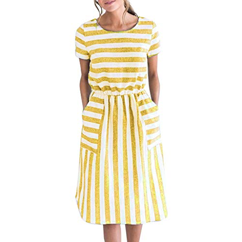Tantisy ♣↭♣ Women's O-Neck Short Sleeve Striped Dress Elastic Waist Summer Casual A-Line Skirt with Pockets Yellow