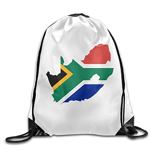 Sunmoonet Drawstring Bags Gym Bag Travel Backpack, South Africa Flag Map White, Cute Gym Backpacks For Women Men Adults by Sunmoonet