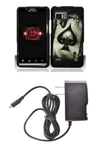 Cerhinu Motorola DROID BIONIC XT875 (Verizon) Premium Combo Pack - Black and White Silver Poker Ace Spade Skull Design...
